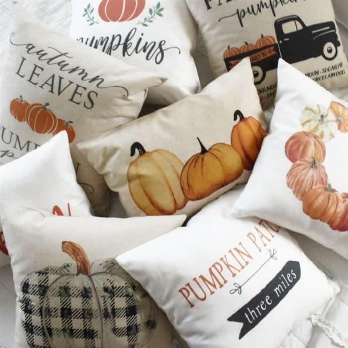 Budget friendly boutique Fall decor ideas from jane.com with autumn pillow covers with pumpkin, vintage trucks and fun catchy phrases on them