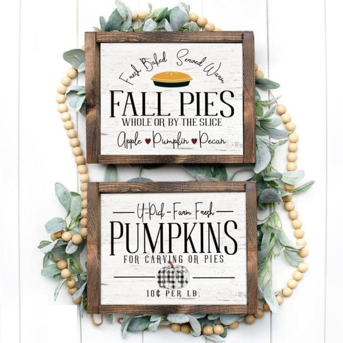 Fall Decor Ideas from jane.com with beautiful autumn farmhouse style prints of black and white checked pumpkins, old trucks filled with pumpkins and more.