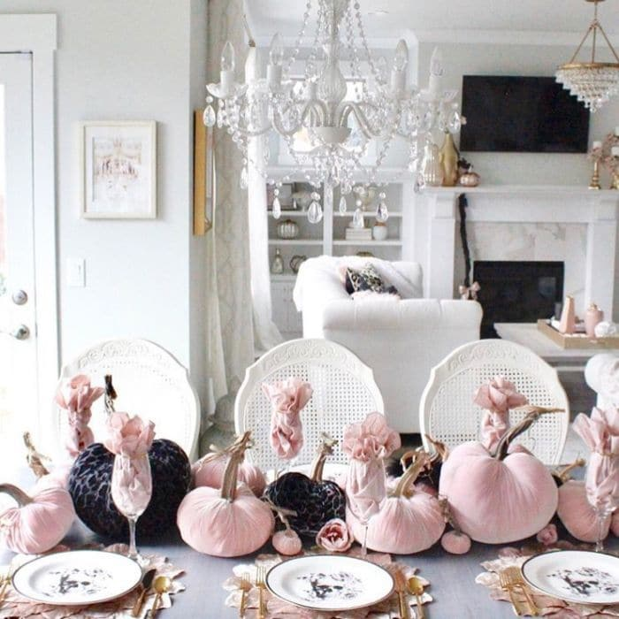 Halloween Table Decorations by Summer Adams Designs with pink and black velet pumpkins centerpiece