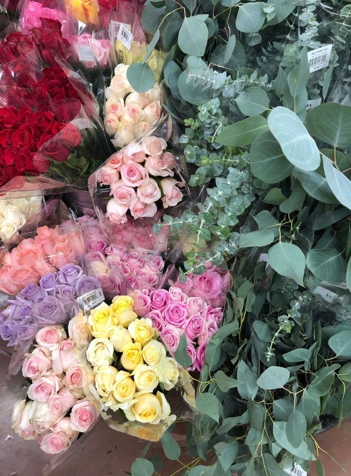 Best places to buy flowers.  Trader Joe's is my top place to shop for flowers.  Roses in red, pink, yellow, lavender and eucalyptus.