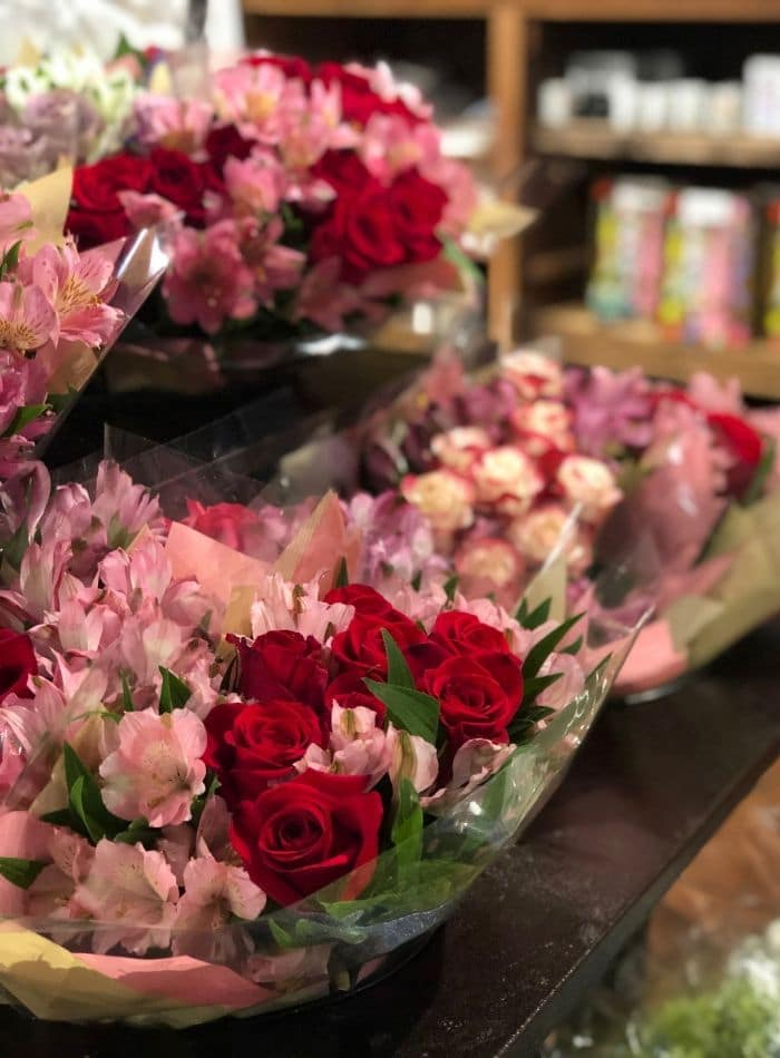 Best places to buy flowers.  Fresh Market has roses in red and pink
