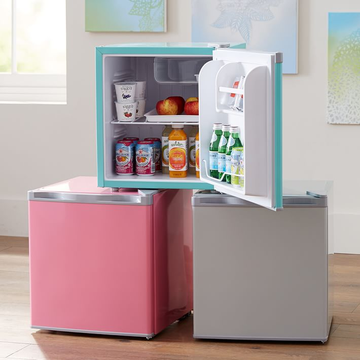 Pottery Barn mini fridge that comes in colors turquoise, pink and grey.