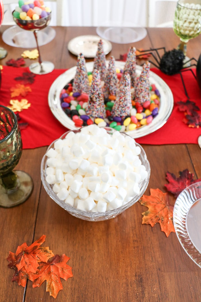 Harry Potter table decorations.  Add marshmallows to a bowl.