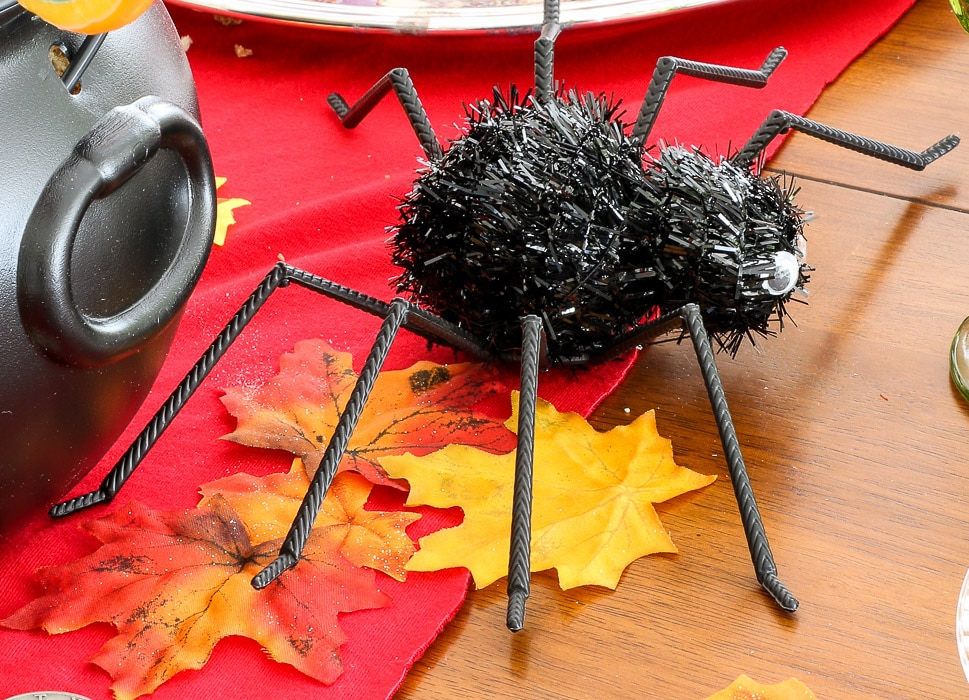 Harry Potter table decorations.  Add a fun play spider or bat onto the table.