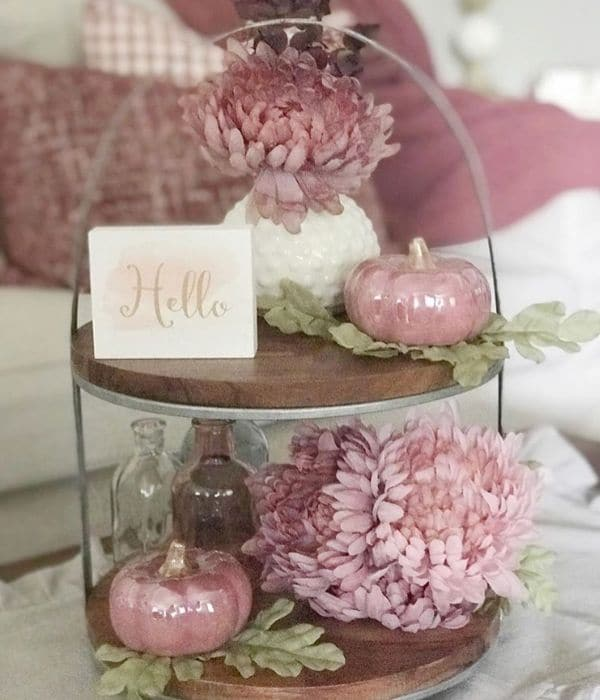 Fall Home Decor by Pammy & Poppy with a rose color schemed tiered tray