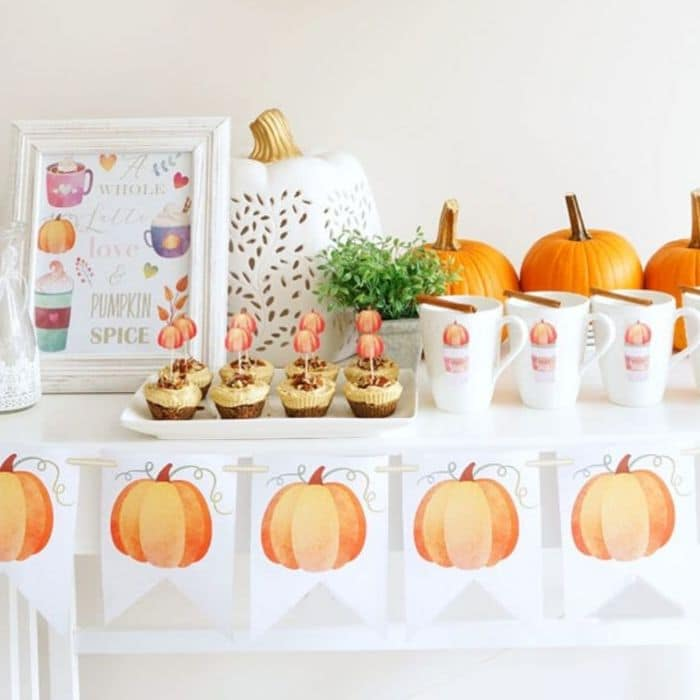 Printable Halloween Decorations by Haute & Healthy Living with pumpkin spice free printable