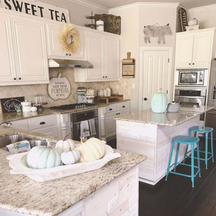 Fall Home Decor by B. Home Decor with touches of teal fall decor in her kitchen