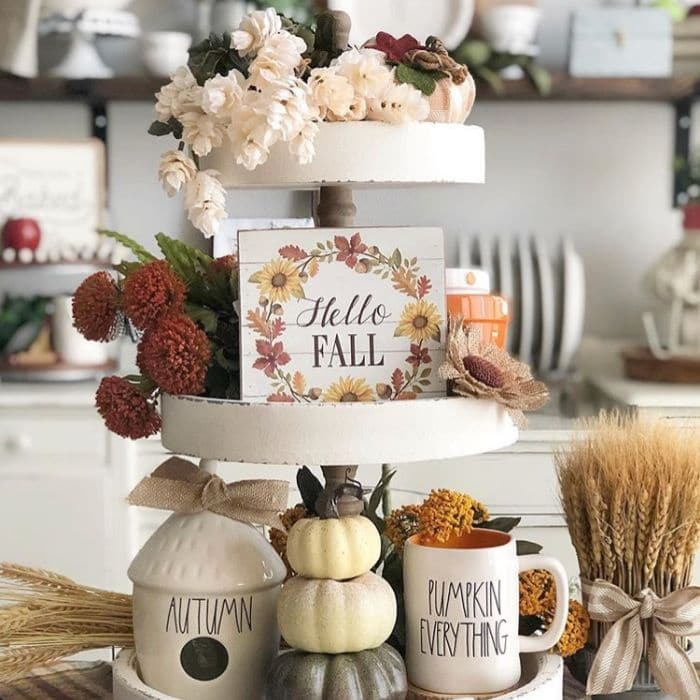 Fall Home Decor by Family, Shiplap & Dunn with an autumn Rae Dunn filled tiered tray