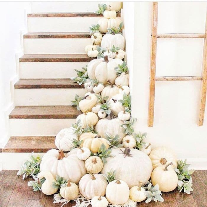 Fall Home Decor by C.B. Designs with a staircase filled with pumpkins