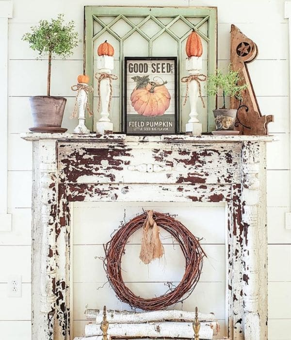 Fall Home Decor by Carey's Country Garden with a faux fireplace mantel full of fall decor