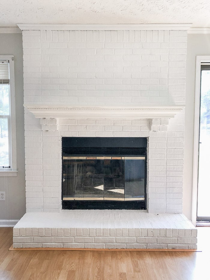 How to paint fireplace bricks white.