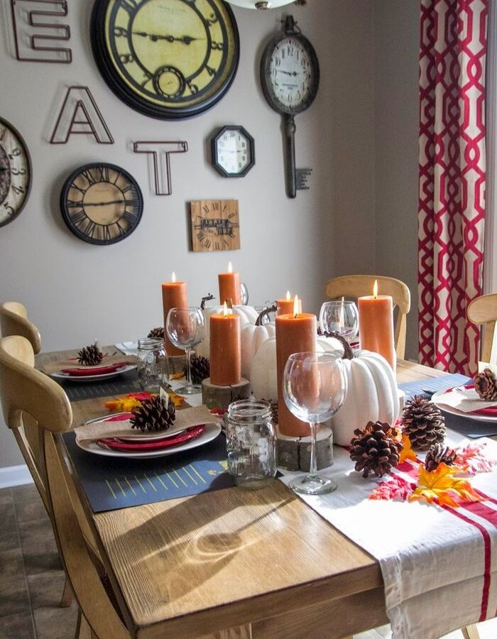 Dollar Store Fall Tablescapes from Bless'er House with a rustic fall tablescape from the Dollar Store