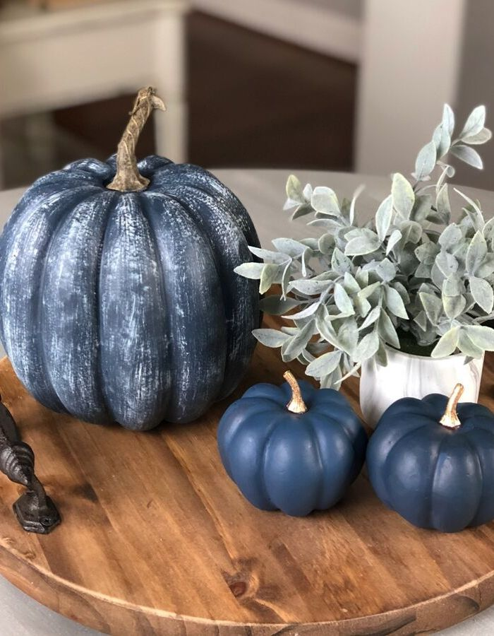 Dollar Store Fall Tablescapes by Wilshire Collections with navy pumpkins for a centerpiece