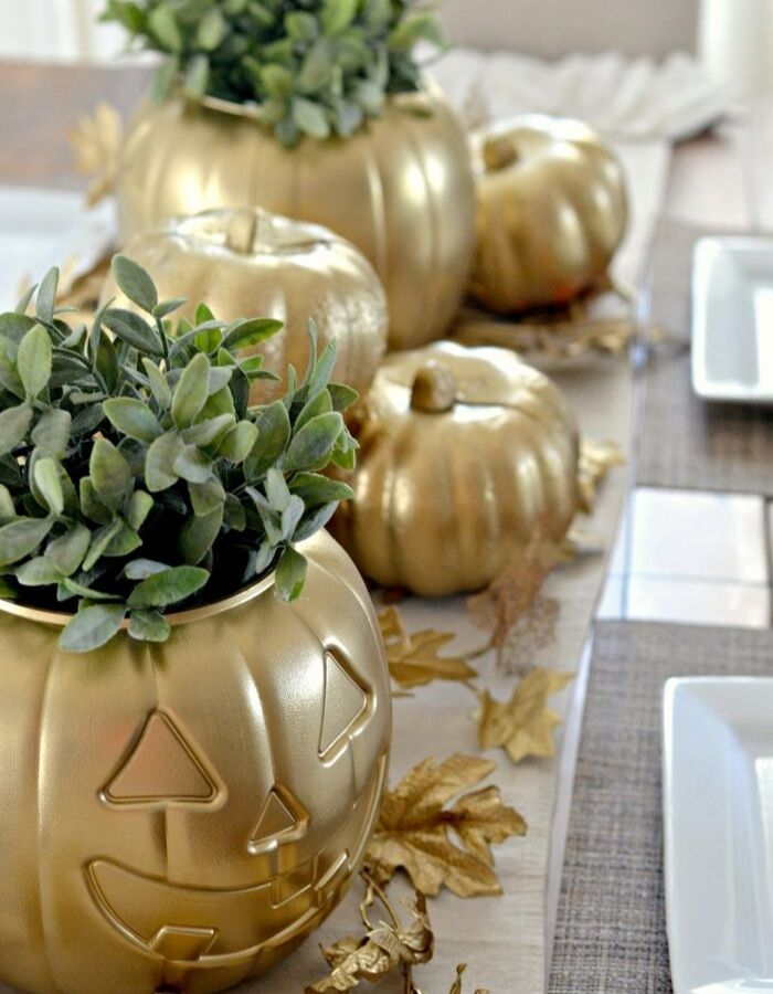 Dollar Store Fall Tablescapes by Hip 2 Save with a golden pumpkin centerpiece