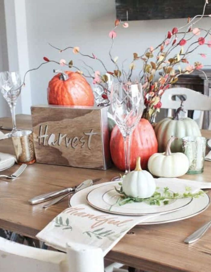 Dollar Store Fall Tablescapes by Repurpose & Upcycle with a havest fall tablescape