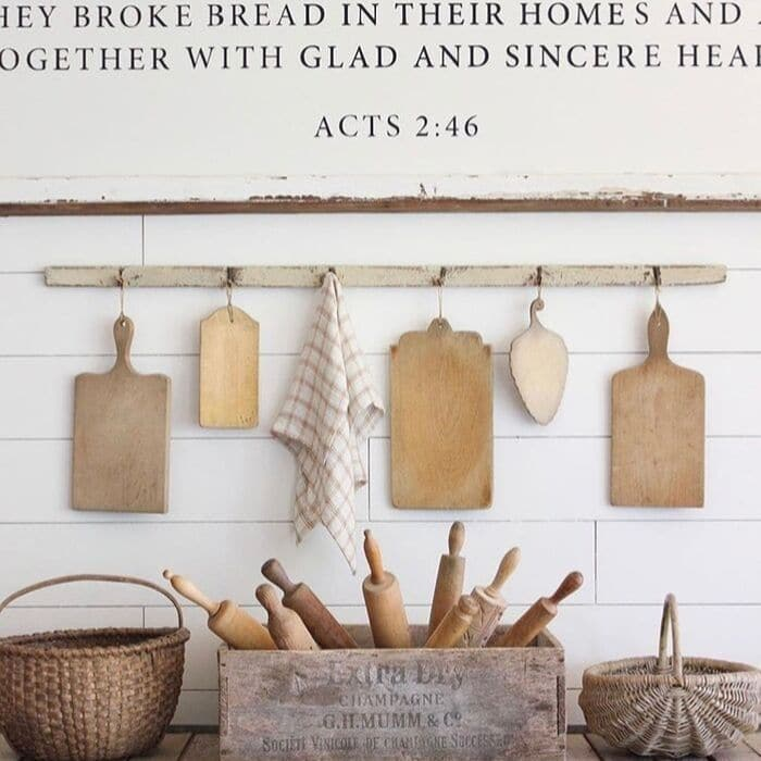 What is a Bread Board? Using bread boards as decor in the kitchen hang up by Where Sister's Gather