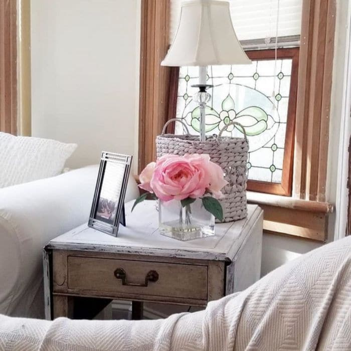 How To Decorate With Baskets with a painted and waxed basket from Our Petite Victorian Home