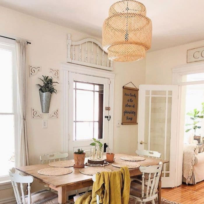 How To Decorate With Baskets with a basket light over the dining room table