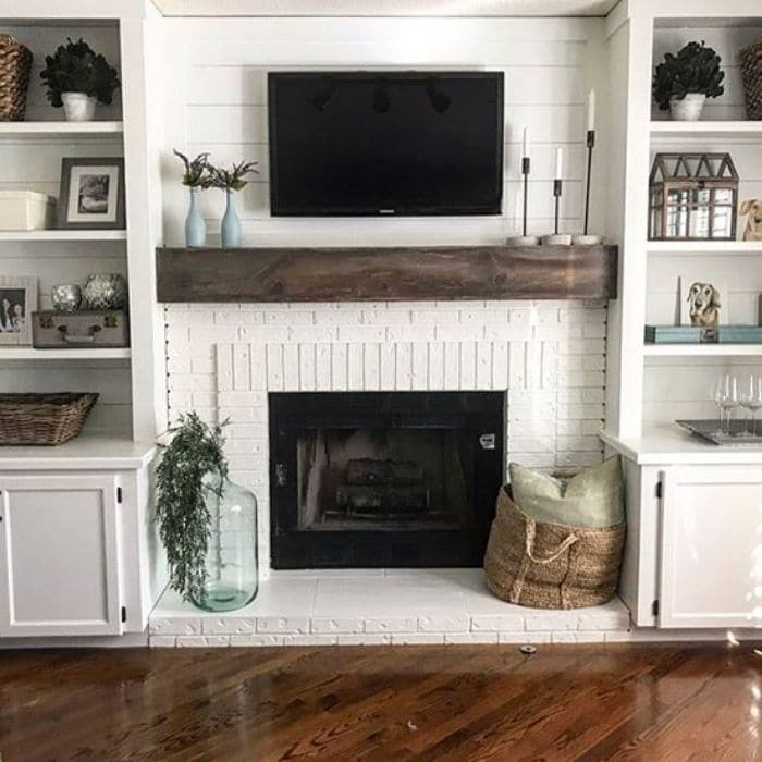 Fireplace Makeovers by Blooming DIYER with a white painted fireplace