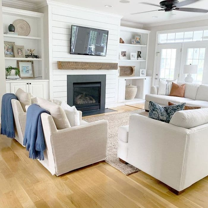 Fireplace Makeovers by The Coastal Oak with a shiplap fireplace makeover