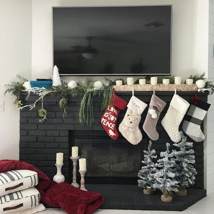 Fireplace Makeovers by Galvanized Farmhouse with a graphite chalk painted fireplace