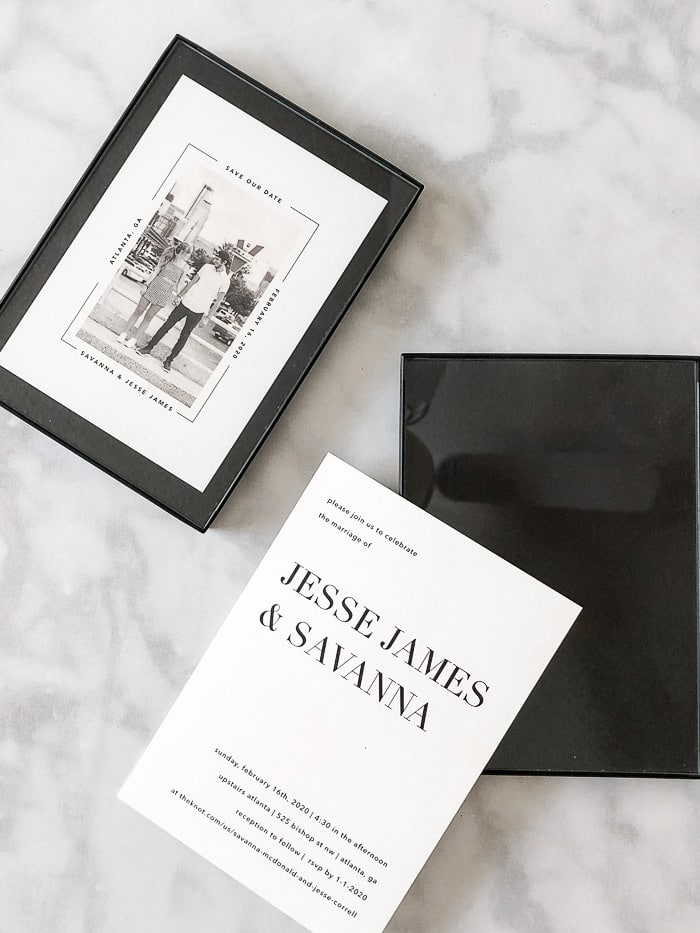 Wedding invitation keepsake idea using save the date, wedding invitation and a old fashion typewriter letter and framed in minimalist black frames.