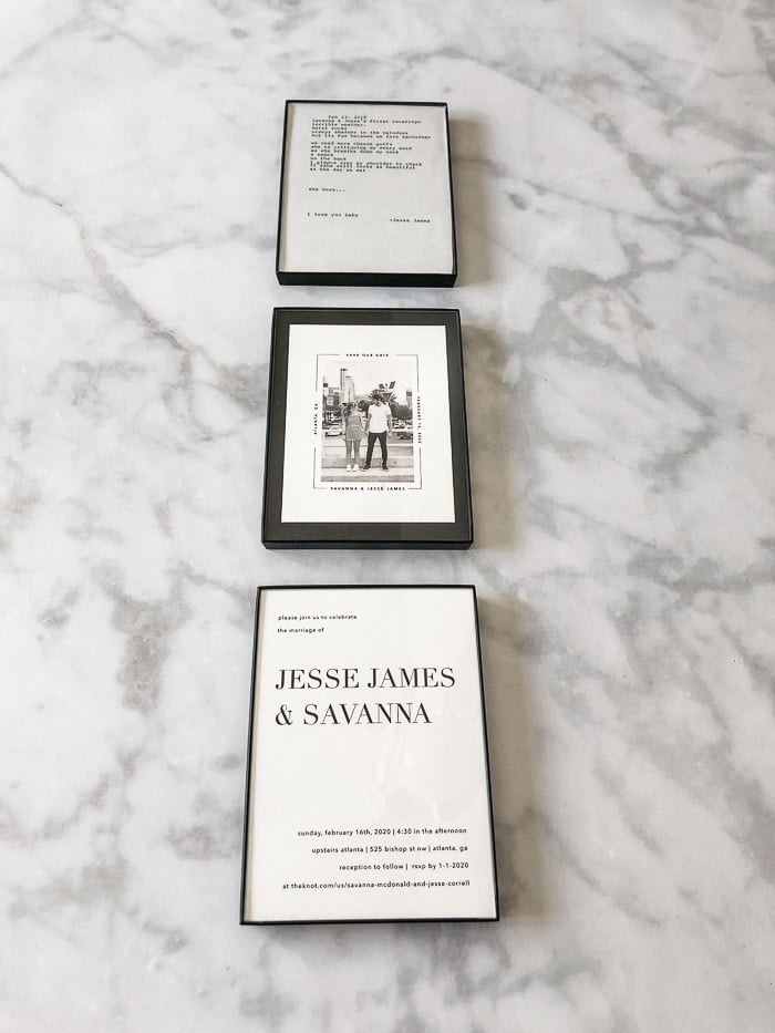 Wedding invitation keepsake idea using three minimalist frames.