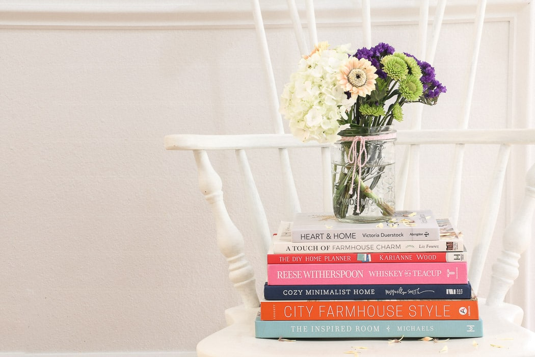 Best interior design books for beginners featuring Heart and Home, The DIY Home Planner, Whiskey in a Teacup, Cozy Minimalist Home, City Farmhouse Style and The Inspired Room