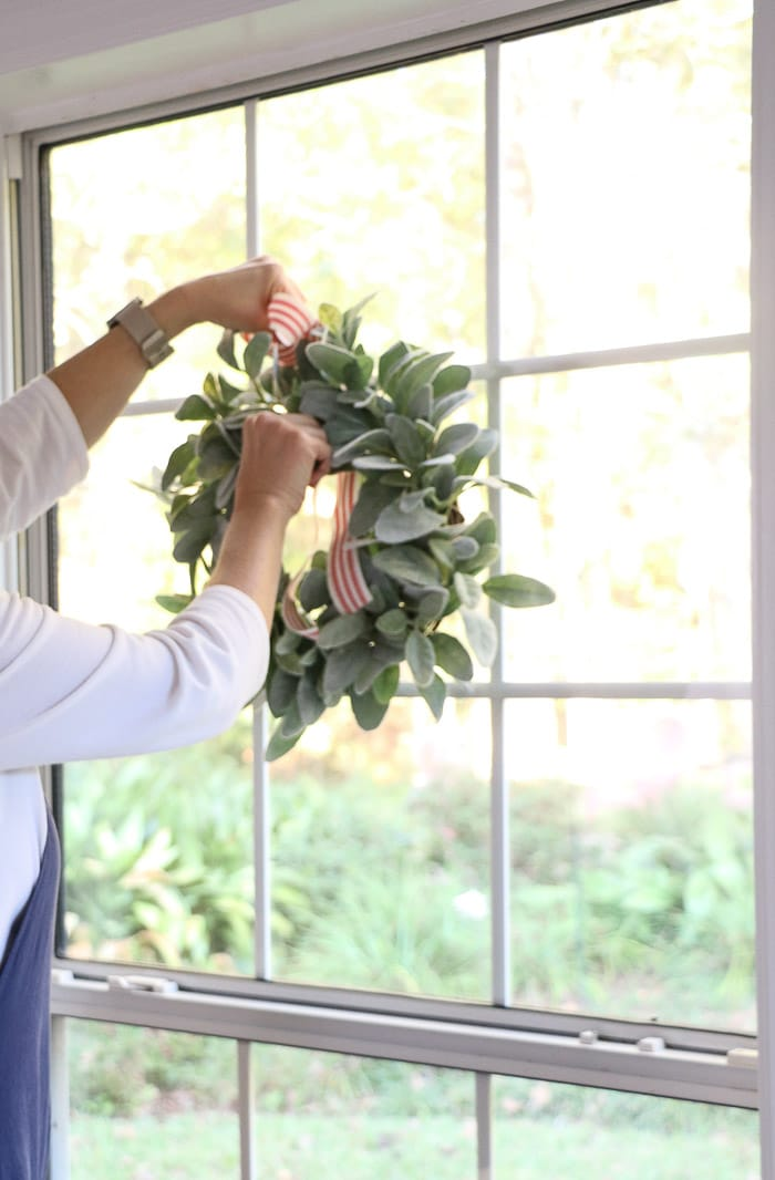 How to hang wreath with ribbon on a window