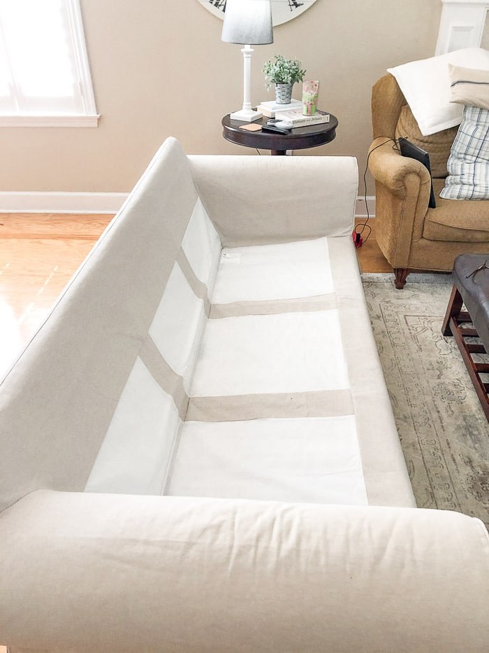 How to wash Ikea slipcovers.  Remove the slipcover from the body of the slipcover.