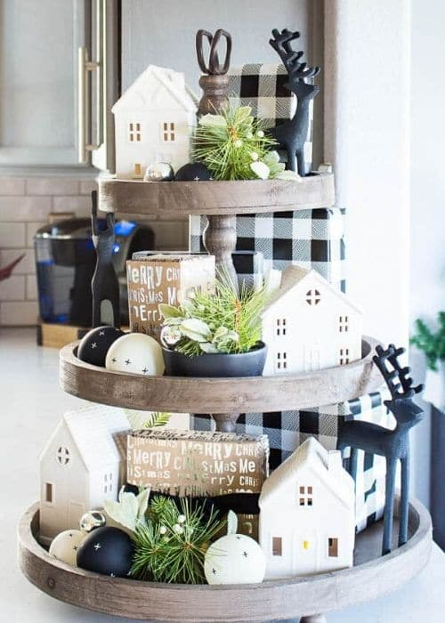 Christmas Tiered Trays by Inspiration for Moms with a black and white buffalo checked tiered tray