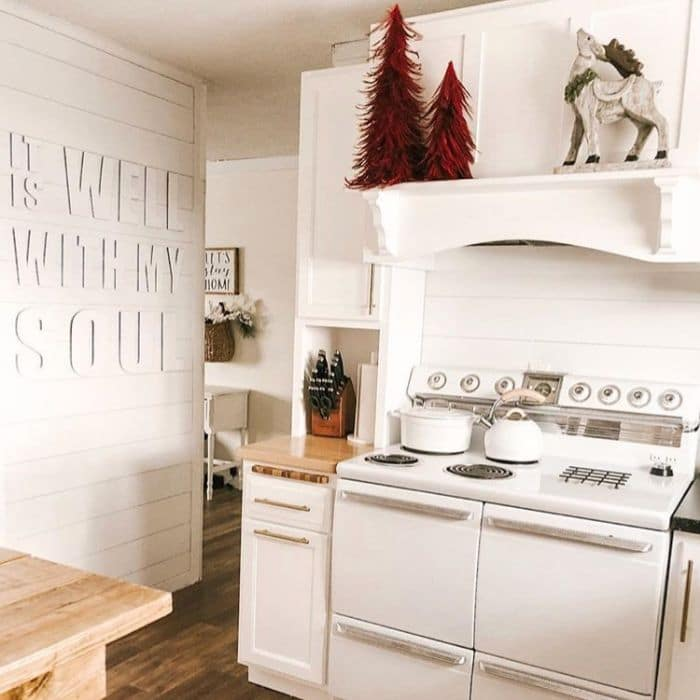 Christmas Kitchen Decor by Creativity In The Corn Belt with a touch of winter wonderland in the kitchen