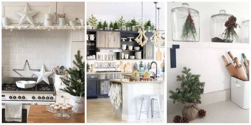 Christmas Kitchen Decor ideas filled with lights, trees, gingerbread houses, signs and more.  Loads of Christmas decorating ideas for the kitchen.
