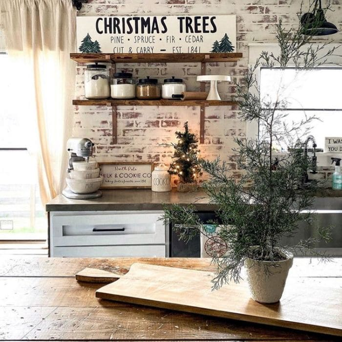 Christmas Kitchen Decor by Cotton N Copper with Christmas wooden signs in her kitchen