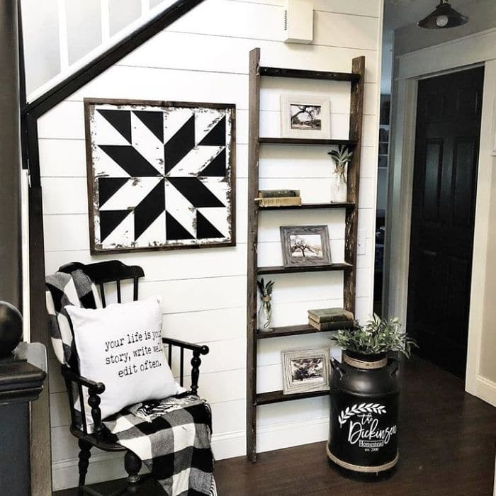 Decorating With Barn Quilts by Home On Mount Forest with a barn quilt hanging in the entryway