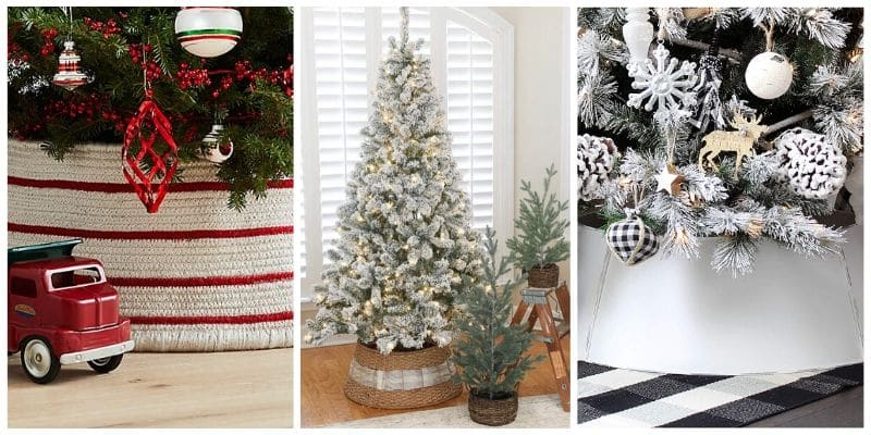 Christmas Tree Base Ideas from a white and red collar, wicker collar and white metal collar.
