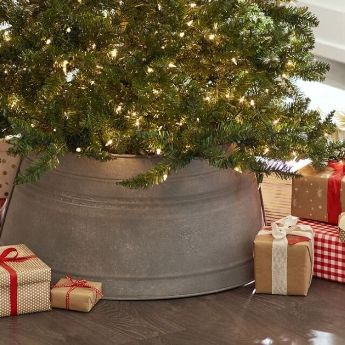 Christmas Tree Base Ideas with an Antiqued Tree Collar from Pottery Barn