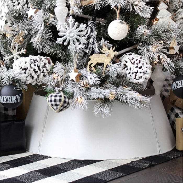 Christmas Tree Base Ideas with a White Enamel Christmas Tree Base from Amazon