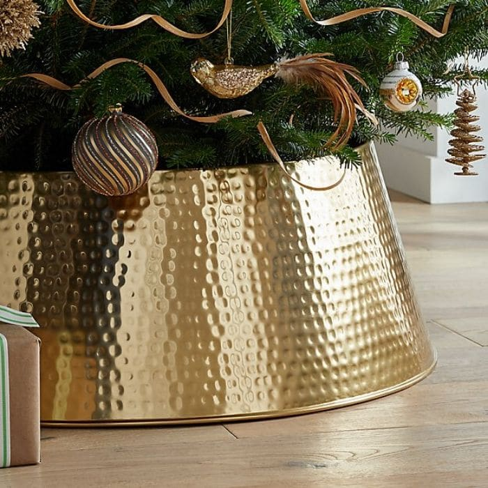 Christmas Tree Base Ideas with a Gold Hammered Tree Collar from Crate & Barrel