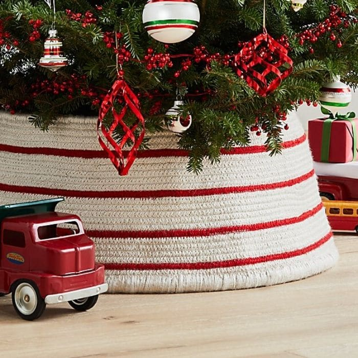 Christmas Tree Base Ideas with a Red & White Tree Collar from Crate & Barrel