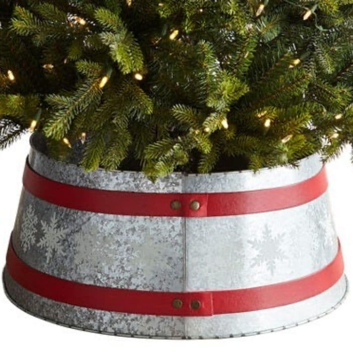 Christmas Tree Base Ideas with a Galvanized Snowflake Tree Collar from Pier 1