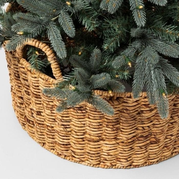 Christmas Tree Base Ideas with a Woven Tree Collar with handles.