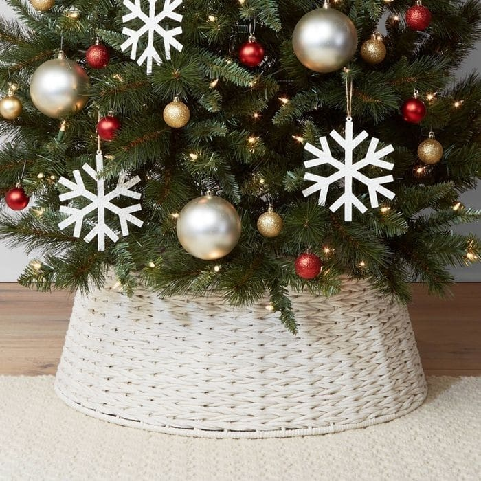 Christmas Tree Base Ideas with a Rustic Rope Tree Collar from Target