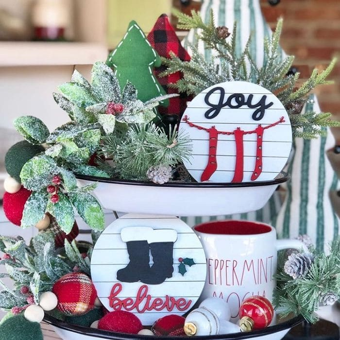 Christmas Tiered Trays by Trisha Ann's with 3-d shiplap sign filled tiered tray