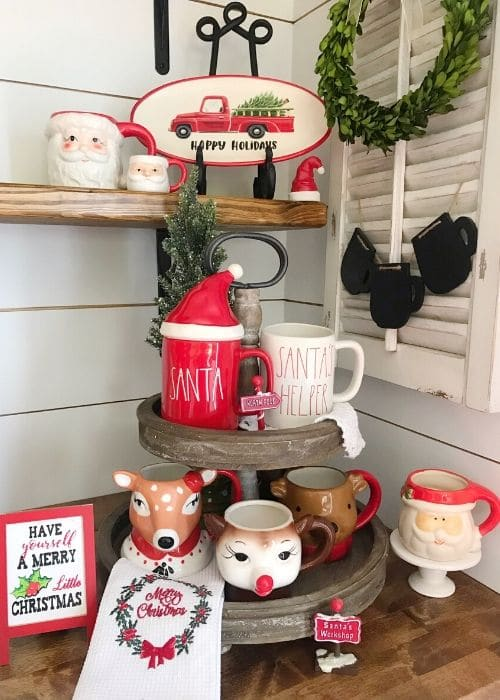 Christmas Tiered Trays by Pammy & Poppy with the perfect mugs on this tiered tray