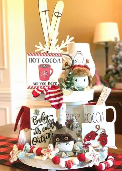 Christmas Tiered Trays by The Sassy Oak with a cute marshmallow mugs on a chocolate tray