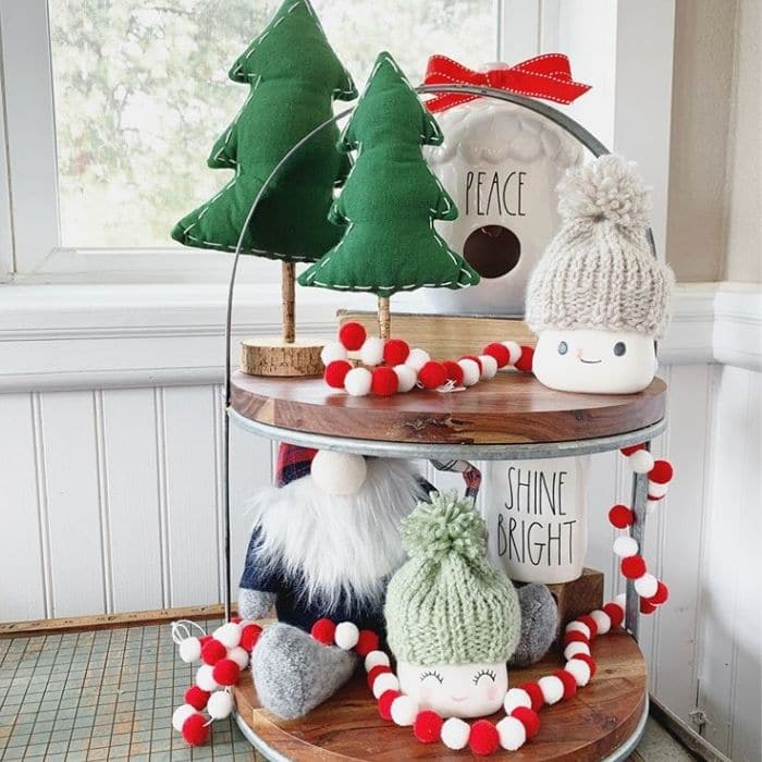 Christmas Tiered Trays by Cream And Cozy with Rae Dunn and Marshmallow Mugs on this tray
