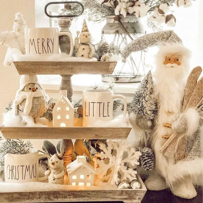 Christmas Tiered Tray by Courtney FitzPatrick with a snow friend filled tray
