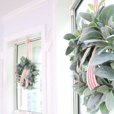 how to hang a wreath on a window with ribbon