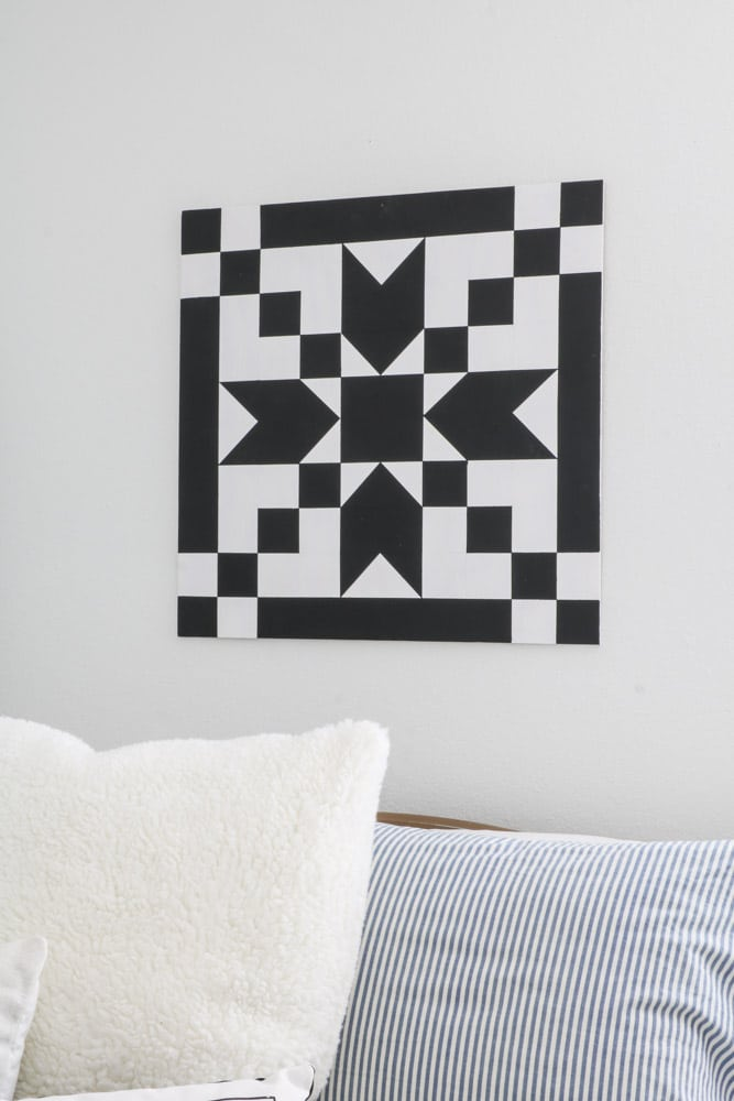 DIY barn quilt in the stepping stone pattern in coal black and casement white.